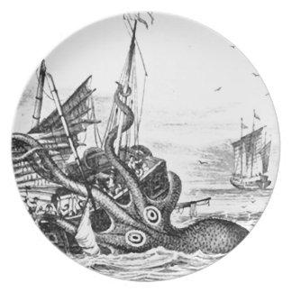 Kraken/Octopus Eatting A Pirate Ship, Black/White Dinner Plate