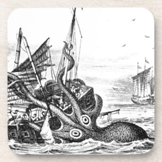 Kraken/Octopus Eatting A Pirate Ship, Black/White Drink Coaster