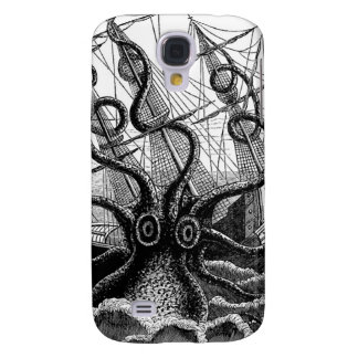 Kraken/Octopus Eatting A Pirate Ship, Black/White Galaxy S4 Case