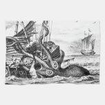 Kraken/Octopus Eatting A Pirate Ship, Black/White Hand Towels