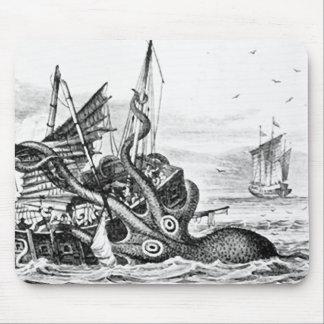 Kraken/Octopus Eatting A Pirate Ship, Black/White Mouse Pad