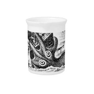 Kraken/Octopus Eatting A Pirate Ship, Black/White Beverage Pitchers