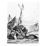 Kraken/Octopus Eatting A Pirate Ship, Black/White Postcards