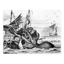Kraken/Octopus Eatting A Pirate Ship, Black/White Postcard