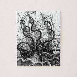 Kraken/Octopus Eatting A Pirate Ship, Black/White Puzzle