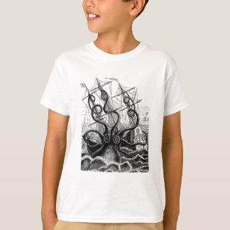 Kraken/Octopus Eatting A Pirate Ship, Black/White T-Shirt