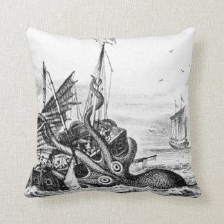 Kraken/Octopus Eatting A Pirate Ship, Black/White Throw Pillow
