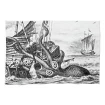 Kraken/Octopus Eatting A Pirate Ship, Black/White Towel