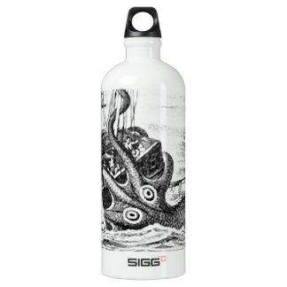 Kraken/Octopus Eatting A Pirate Ship, Black/White Water Bottle