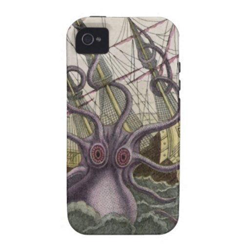 Kraken/Octopus Eatting A Pirate Ship, Color iPhone 4 Cover