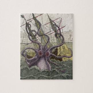 Kraken/Octopus Eatting A Pirate Ship, Color Jigsaw Puzzle