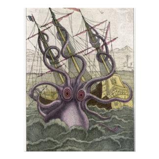 Kraken/Octopus Eatting A Pirate Ship, Color Letterhead