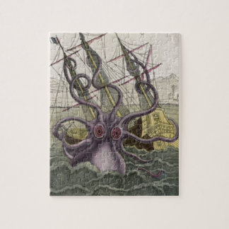 Kraken/Octopus Eatting A Pirate Ship, Color Jigsaw Puzzles