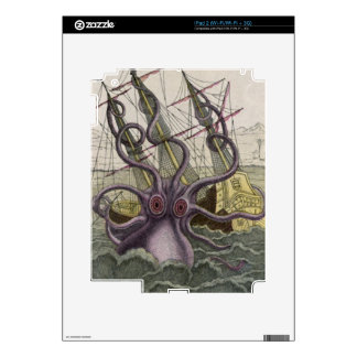 Kraken/Octopus Eatting A Pirate Ship, Color iPad 2 Skin