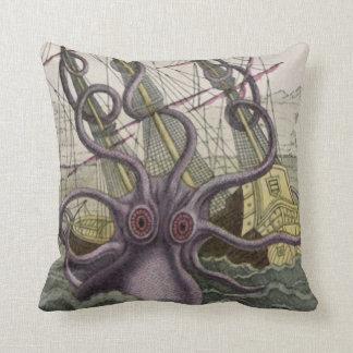 Kraken/Octopus Eatting A Pirate Ship, Color Throw Pillow