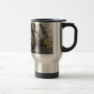 Kraken/Octopus Eatting A Pirate Ship, Color Travel Mug