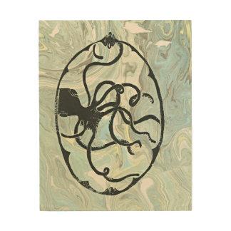 Kraken on wood panel wood wall art