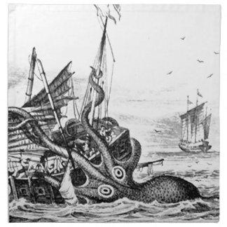 Kraken/pulpo Eatting un barco pirata, color Servilleta Imprimida