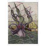 Kraken/pulpo Eatting un barco pirata, color Felicitación