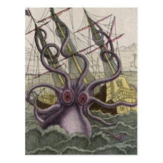 Kraken/pulpo Eatting un barco pirata, color Tarjetas Postales