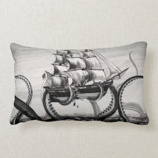 Kraken/pulpo Eatting un barco pirata, negro/blanco Almohadas