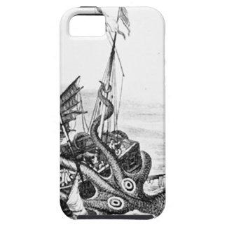 Kraken/pulpo Eatting un barco pirata, negro/blanco iPhone 5 Fundas