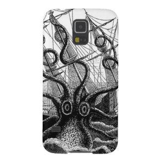 Kraken/pulpo Eatting un barco pirata, negro/blanco Funda Galaxy S5