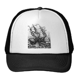 Kraken/pulpo Eatting un barco pirata, negro/blanco Gorro De Camionero