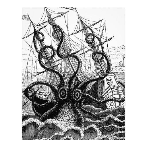 Kraken/pulpo Eatting un barco pirata, negro/blanco Plantillas De ...