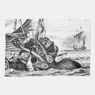 Kraken/pulpo Eatting un barco pirata, negro/blanco Toalla De Cocina