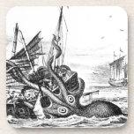 Kraken/pulpo Eatting un barco pirata, negro/blanco Posavaso