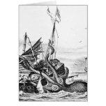 Kraken/pulpo Eatting un barco pirata, negro/blanco Tarjetas