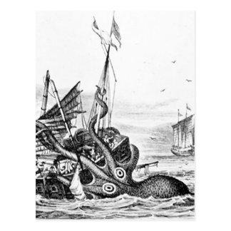 Kraken/pulpo Eatting un barco pirata, negro/blanco Tarjeta Postal