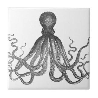 Kraken - pulpo gigante negro/Cthulu Azulejo Cuadrado Pequeño