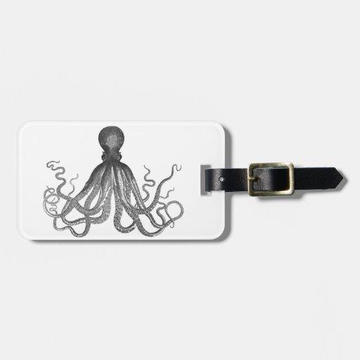 Kraken - pulpo gigante negro/Cthulu Etiquetas De Equipaje