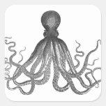Kraken - pulpo gigante negro/Cthulu Calcomanías Cuadradases