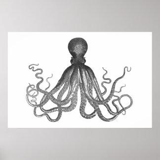 Kraken - pulpo gigante negro/Cthulu Póster