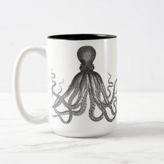 Kraken - pulpo gigante negro/Cthulu Taza Dos Tonos