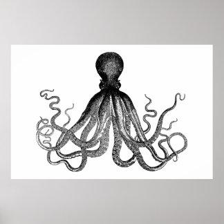 Kraken - pulpo gigante negro (extra grande) póster