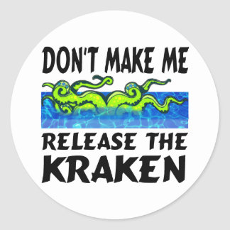 Kraken release the kraken round sticker