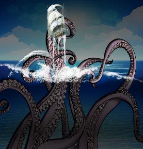 Giant Sea Serpent Attacks Dog
