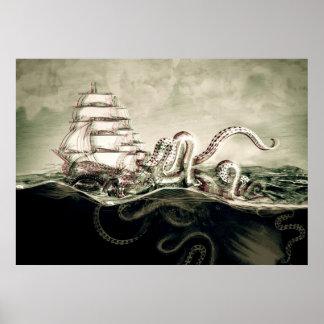Kraken Serigrafía Póster