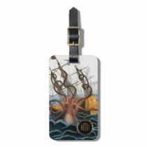 Kraken Steampunk Vintage Octopus 3 Letter Monogram Luggage Tag
