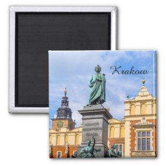 Krakow, A Mickiewicz monument, Poland, magnet
