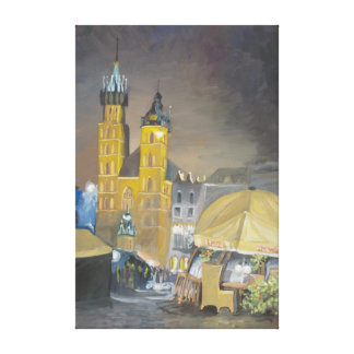 Krakow at night gallery wrapped canvas