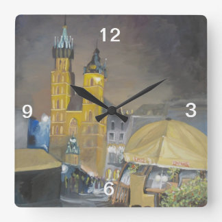 Krakow at night square wall clock