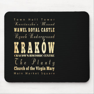 Kraków City of Poland Typography Art Mouse Pad