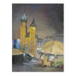 Kraków en la noche tarjetas postales