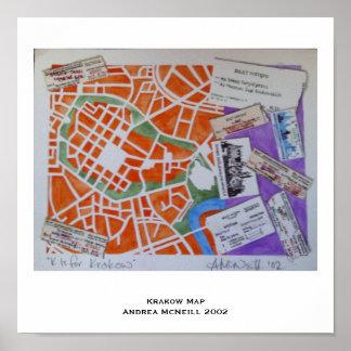 Krakow map poster
