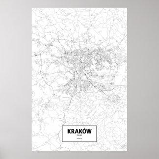 Kraków, Poland (black on white) Poster